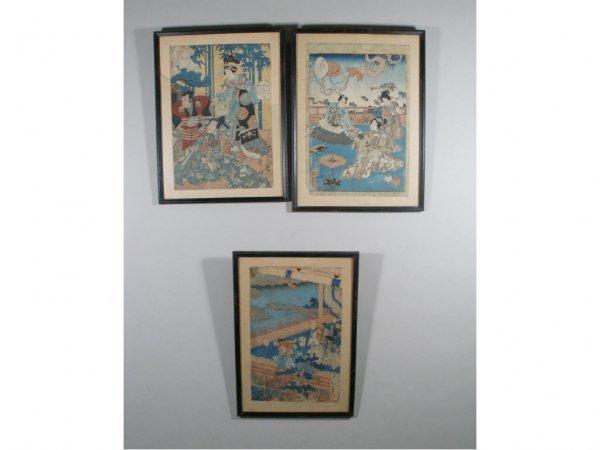 18: Three Japanese Woodblock Prints, 19th c.,