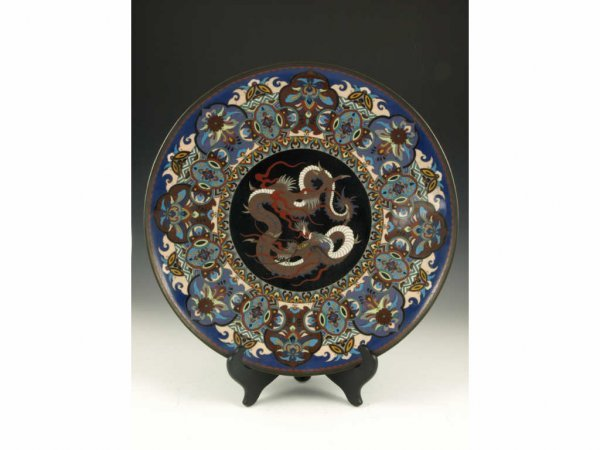 23: Antique Japanese Cloisonne Footed Charger,