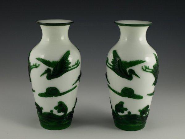 24: Pair of Peking Glass Vases,