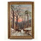 An Antique American School Landscape Painting with Deer