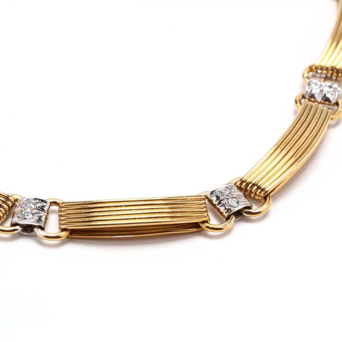 Bi Color 18KT Gold and Diamond Necklace - 2