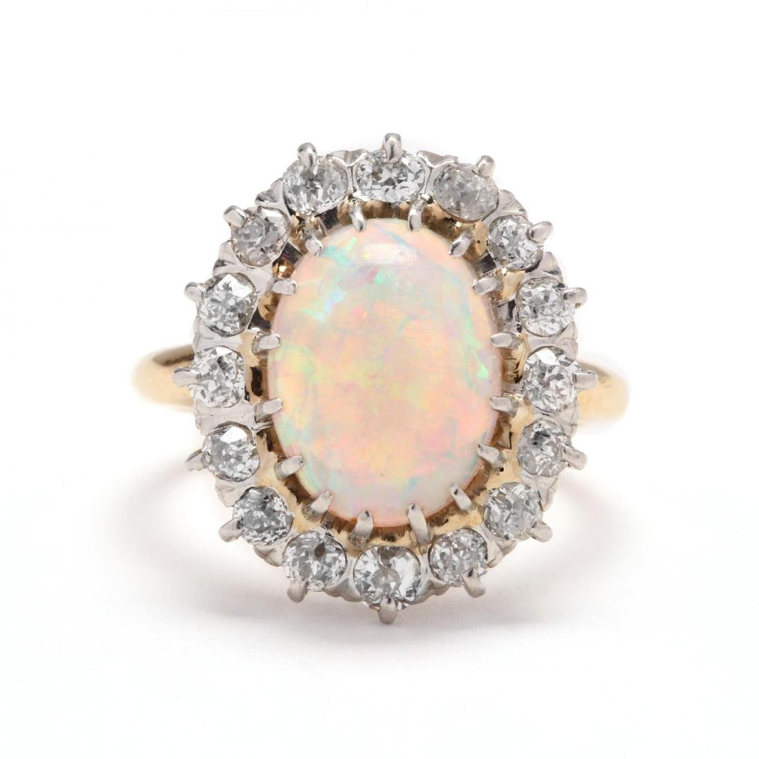Vintage 14KT Gold, Opal, and Diamond Ring