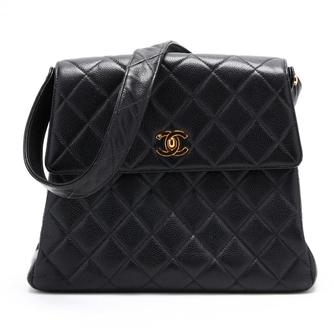 Caviar Leather Trapeze Flap Handbag, Chanel