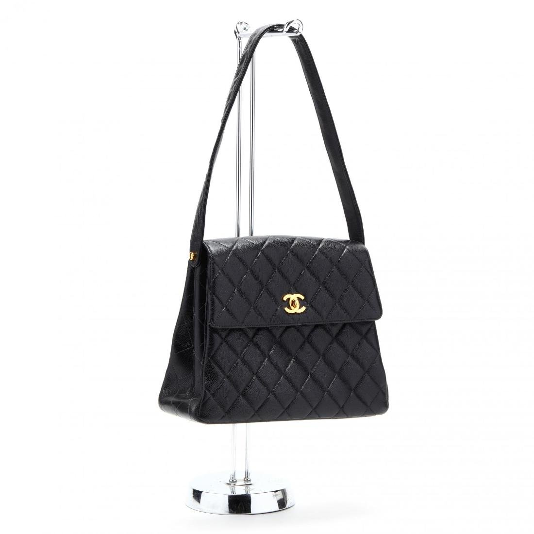 Caviar Leather Trapeze Flap Handbag, Chanel - 3