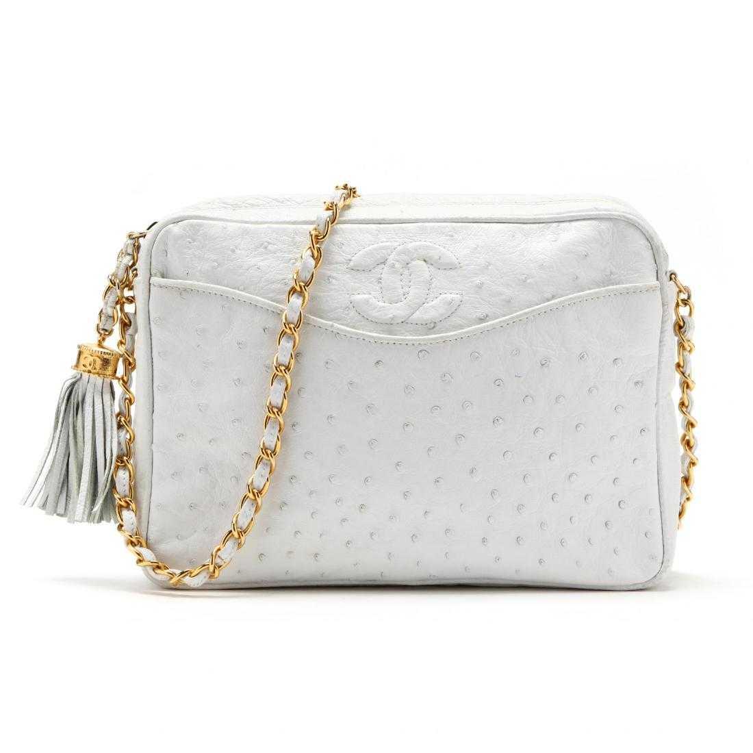 ad71b3f735edf0 Ostrich Leather Camera Tassel Bag, Chanel