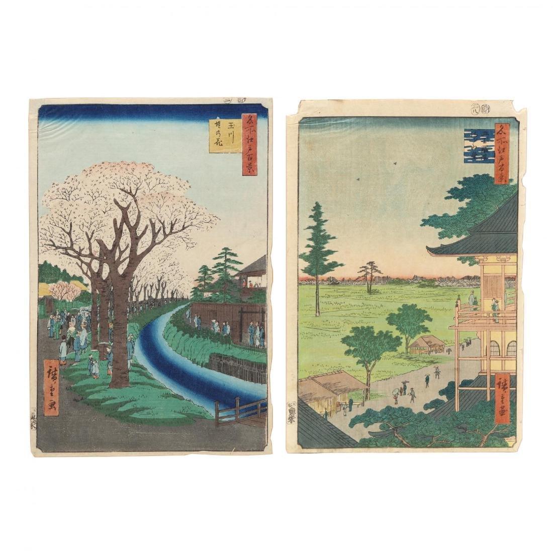 Two Woodblock Prints by Ando Hiroshige (Japanese,