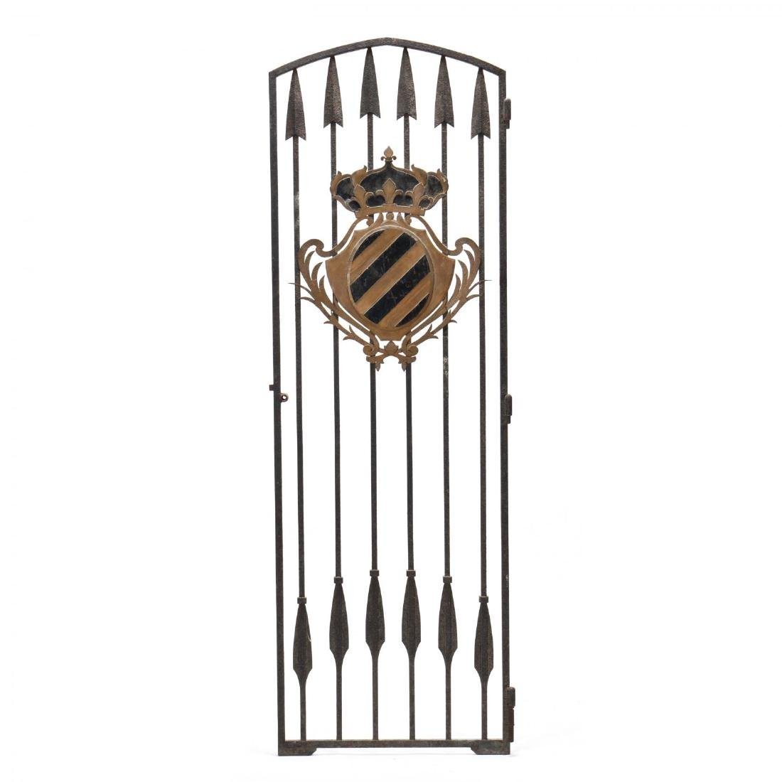 Continental Antique Iron Gate with Coat of Arms