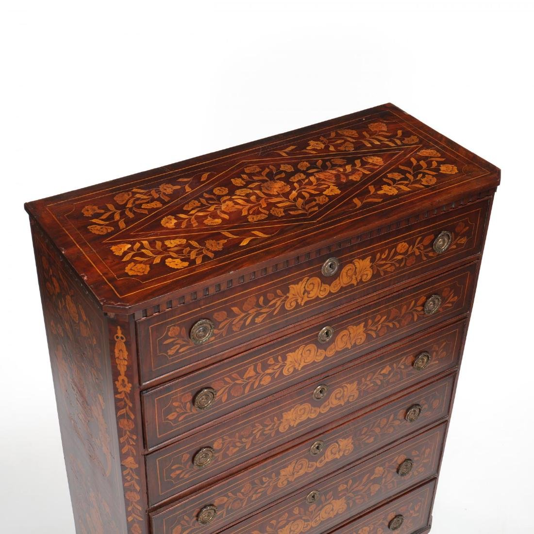 Dutch Marquetry Inlaid Semi-Tall Chest of Drawers - 2