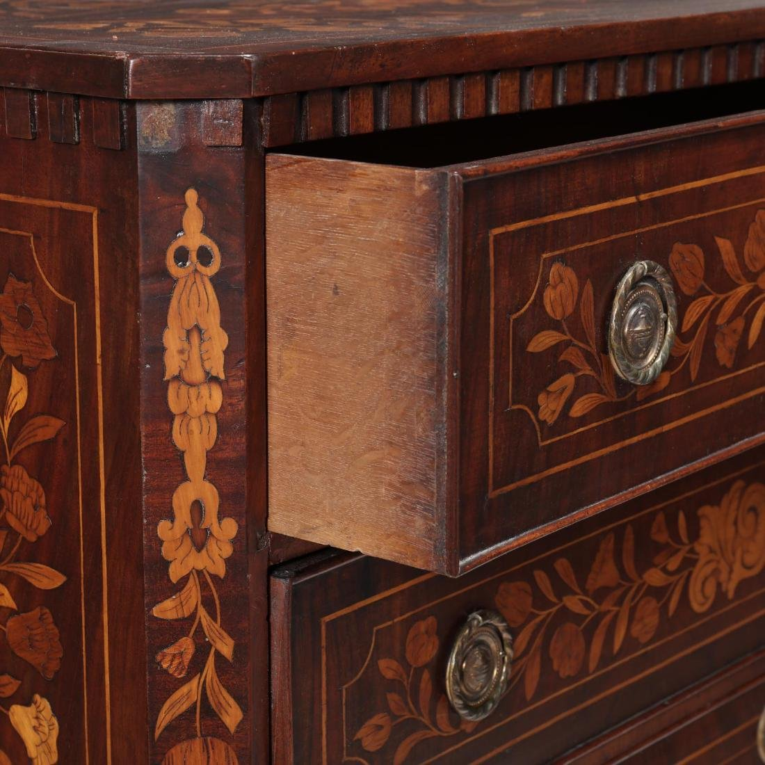 Dutch Marquetry Inlaid Semi-Tall Chest of Drawers - 5