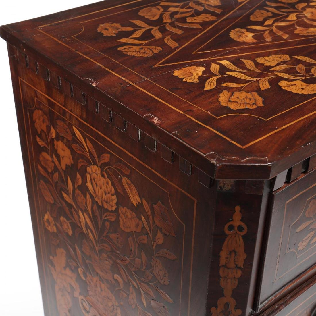 Dutch Marquetry Inlaid Semi-Tall Chest of Drawers - 6