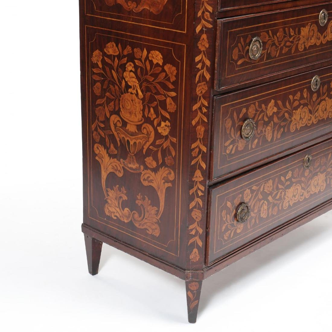 Dutch Marquetry Inlaid Semi-Tall Chest of Drawers - 7