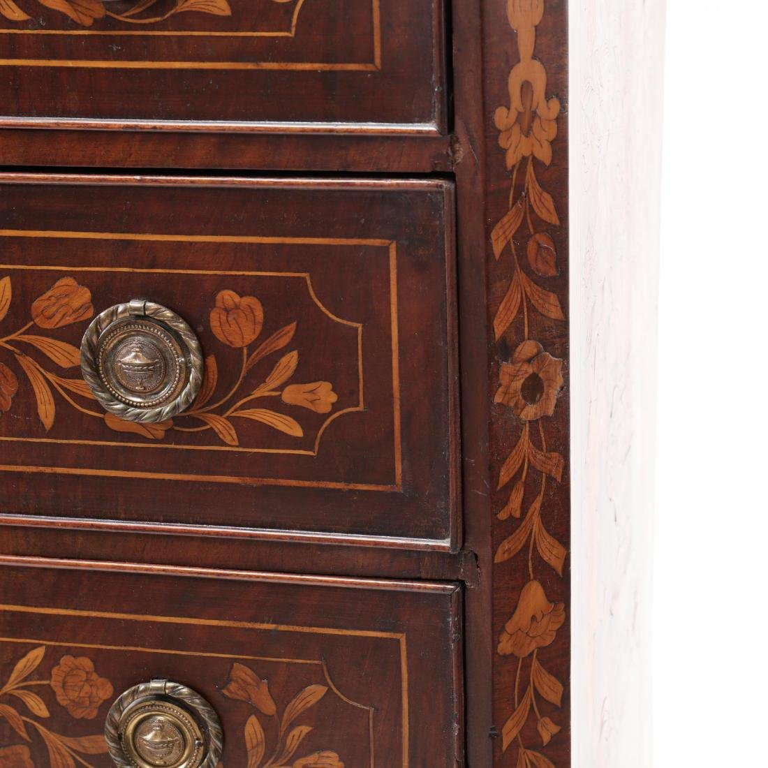 Dutch Marquetry Inlaid Semi-Tall Chest of Drawers - 9