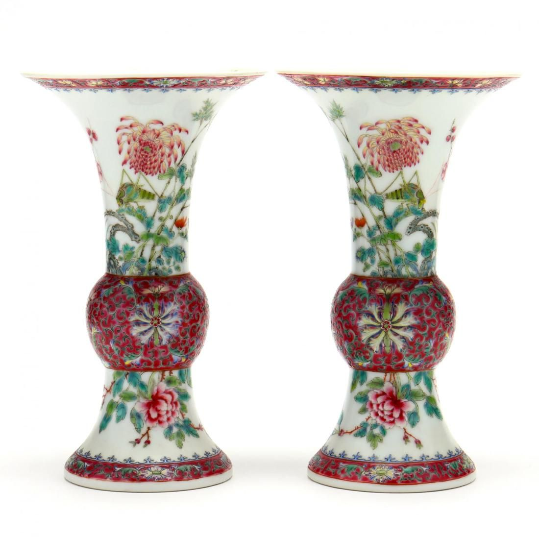 A Mirror Pair of Chinese Porcelain Gu Shaped Vases
