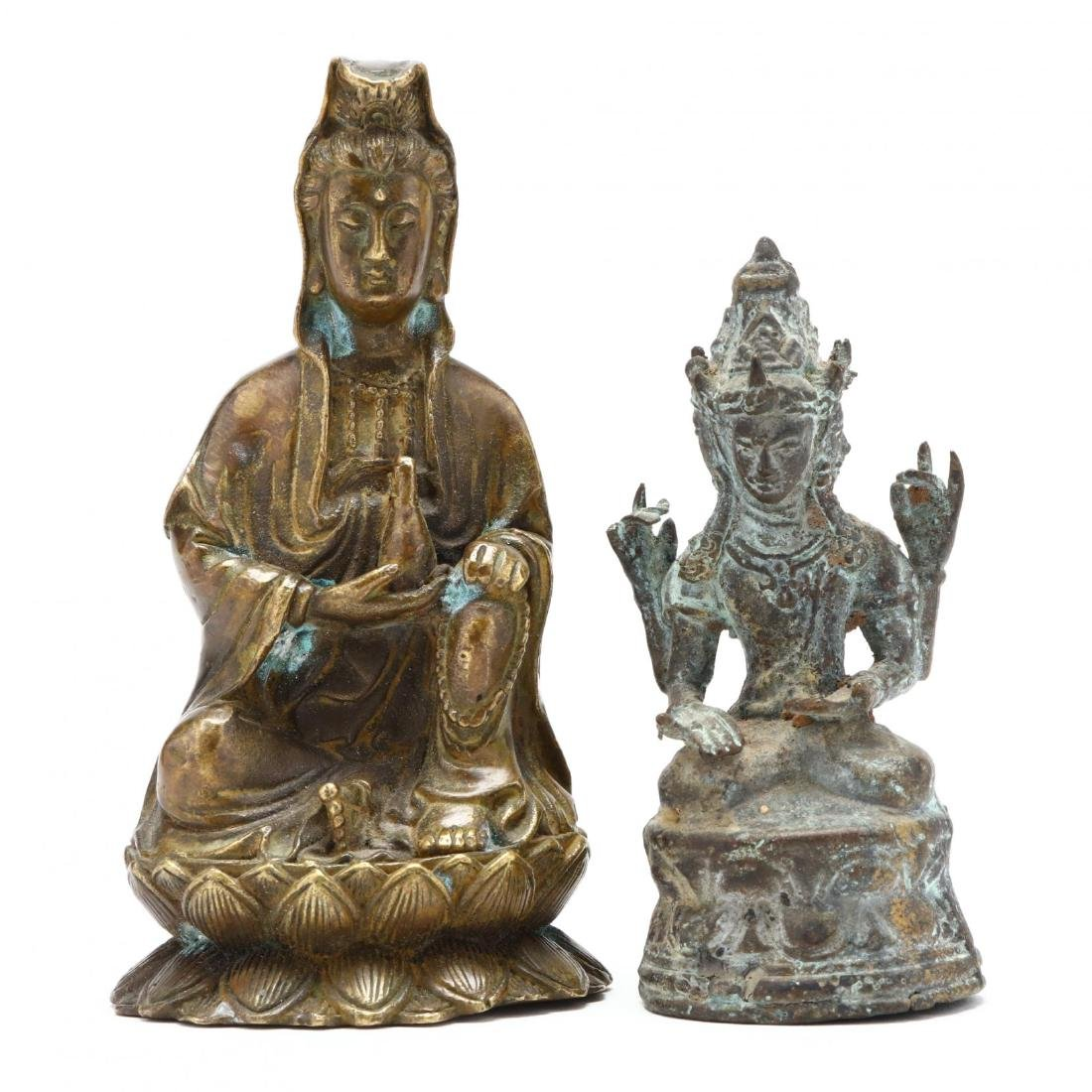 A Three Headed Indian Bronze Sculpture and Bronze