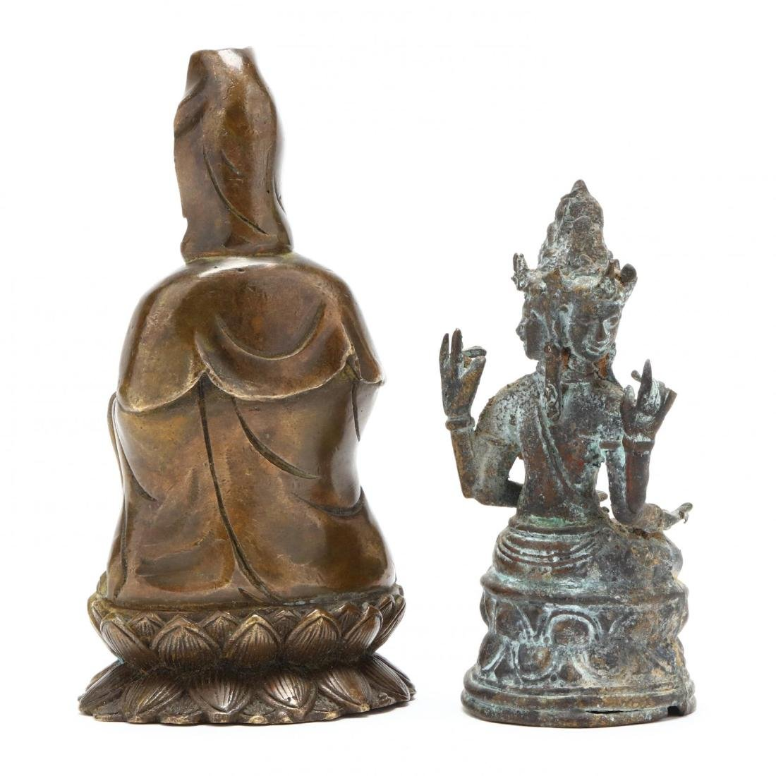 A Three Headed Indian Bronze Sculpture and Bronze - 2