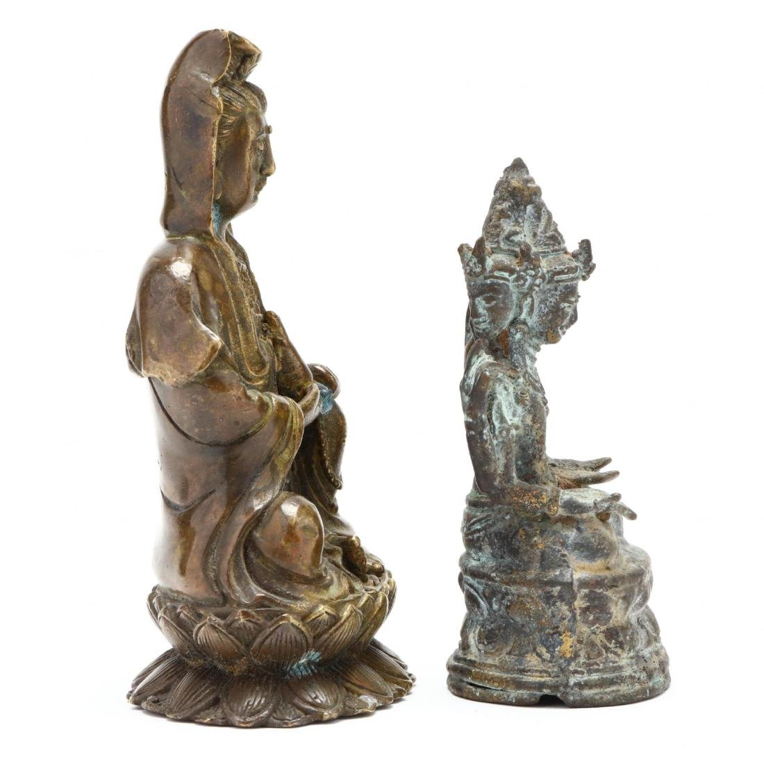 A Three Headed Indian Bronze Sculpture and Bronze - 3