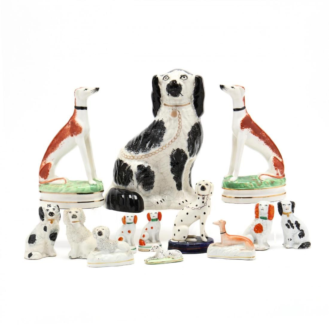 Group of (13 ) Staffordshire Style Dog Figures