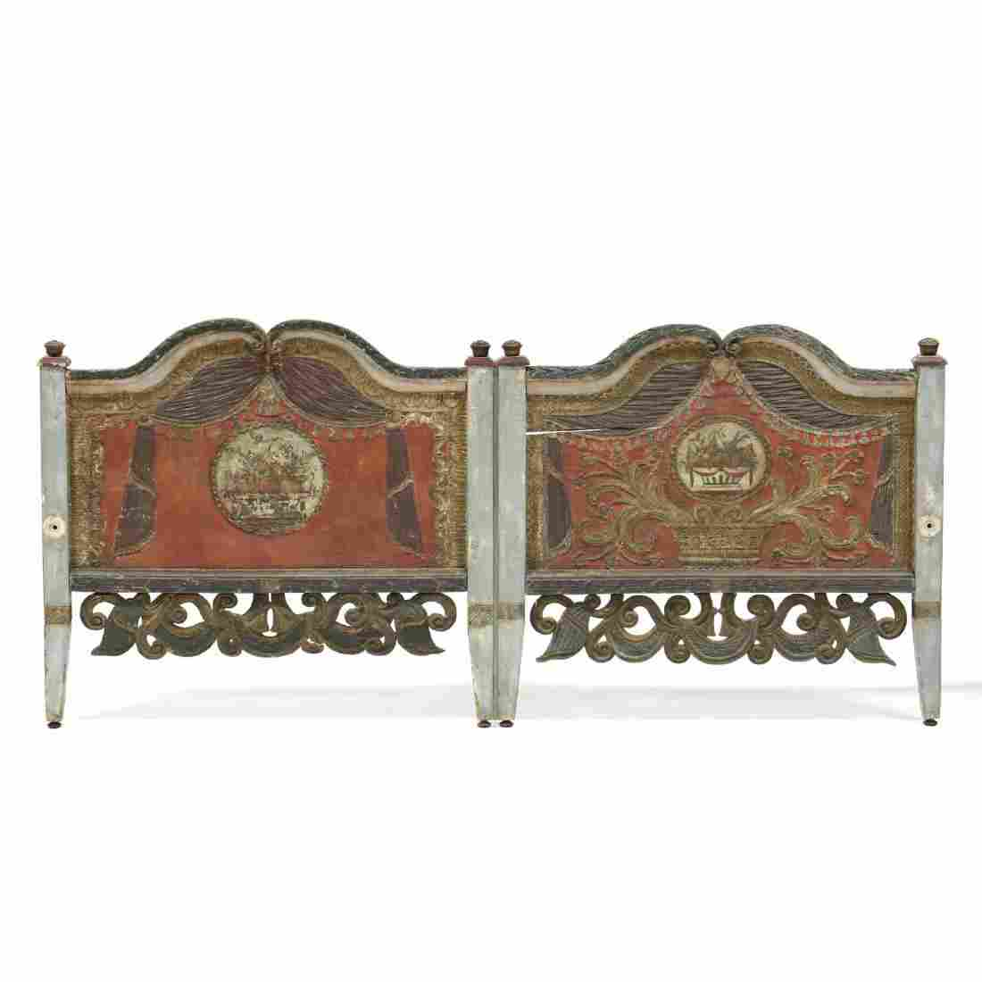 Italian Carved and Painted Footboard
