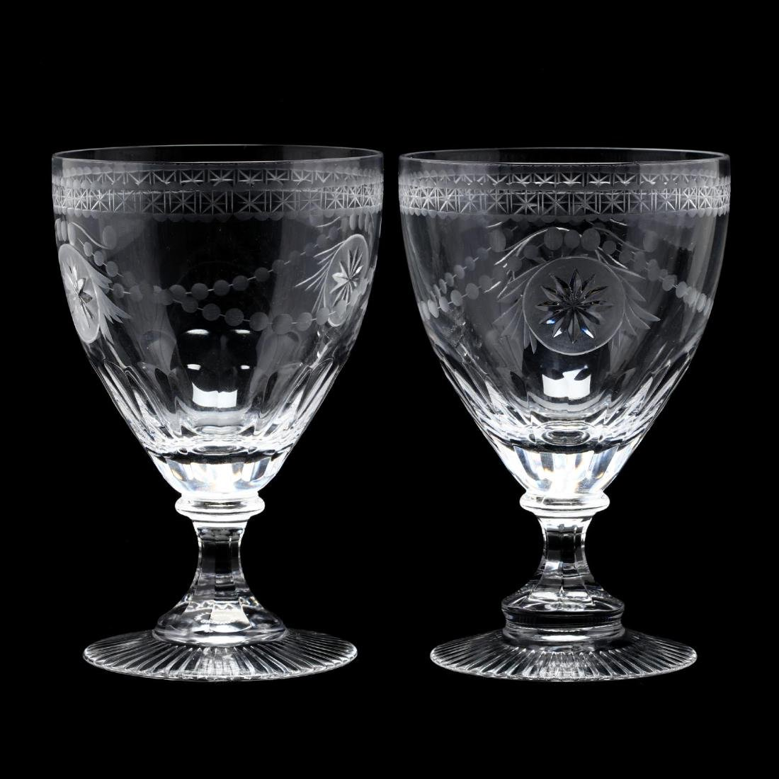 William Yeoward, Pair of Engraved Wine Goblets and - 4