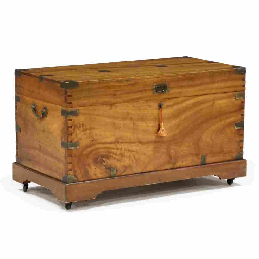 Antique Mahogany Campaign Chest on Stand
