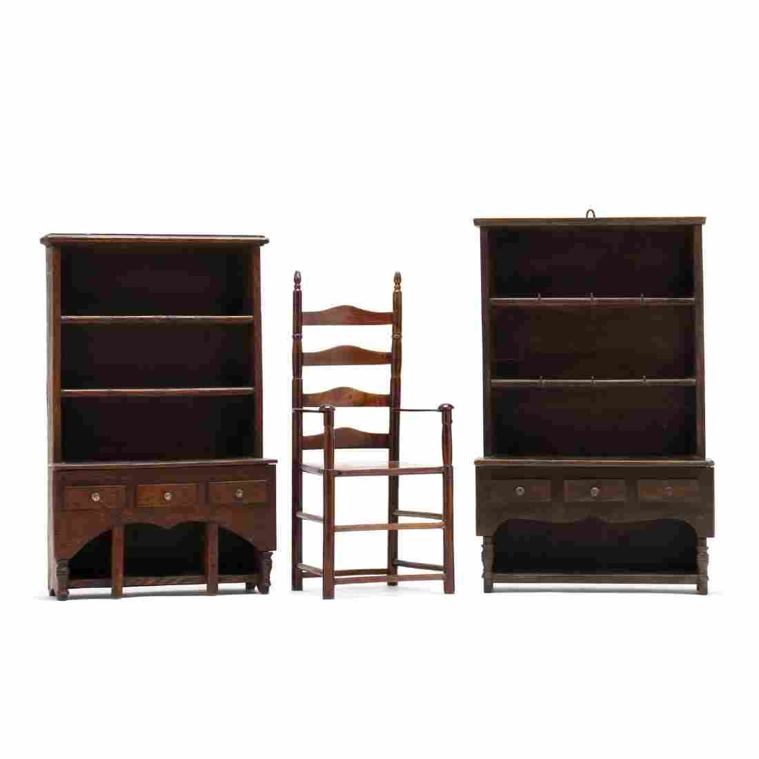 Two Vintage Miniature Flatwall Cupboards and Chair