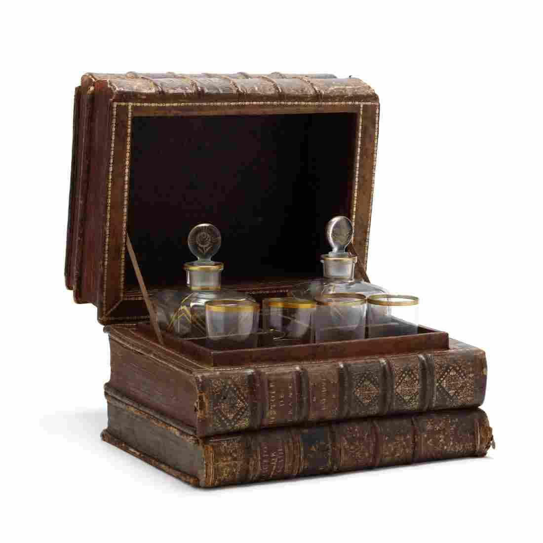Antique Faux Book Tantalus Decanter Set