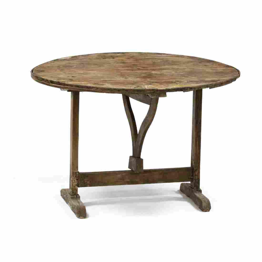 Antique Continental Primitive Tilt Top Breakfast Table