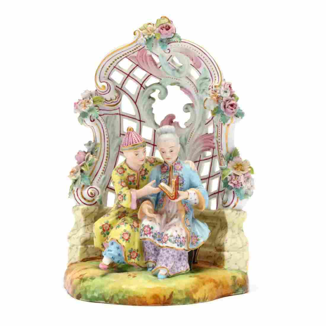 Dresden Porcelain Chinese Couple Seated in an Arbor