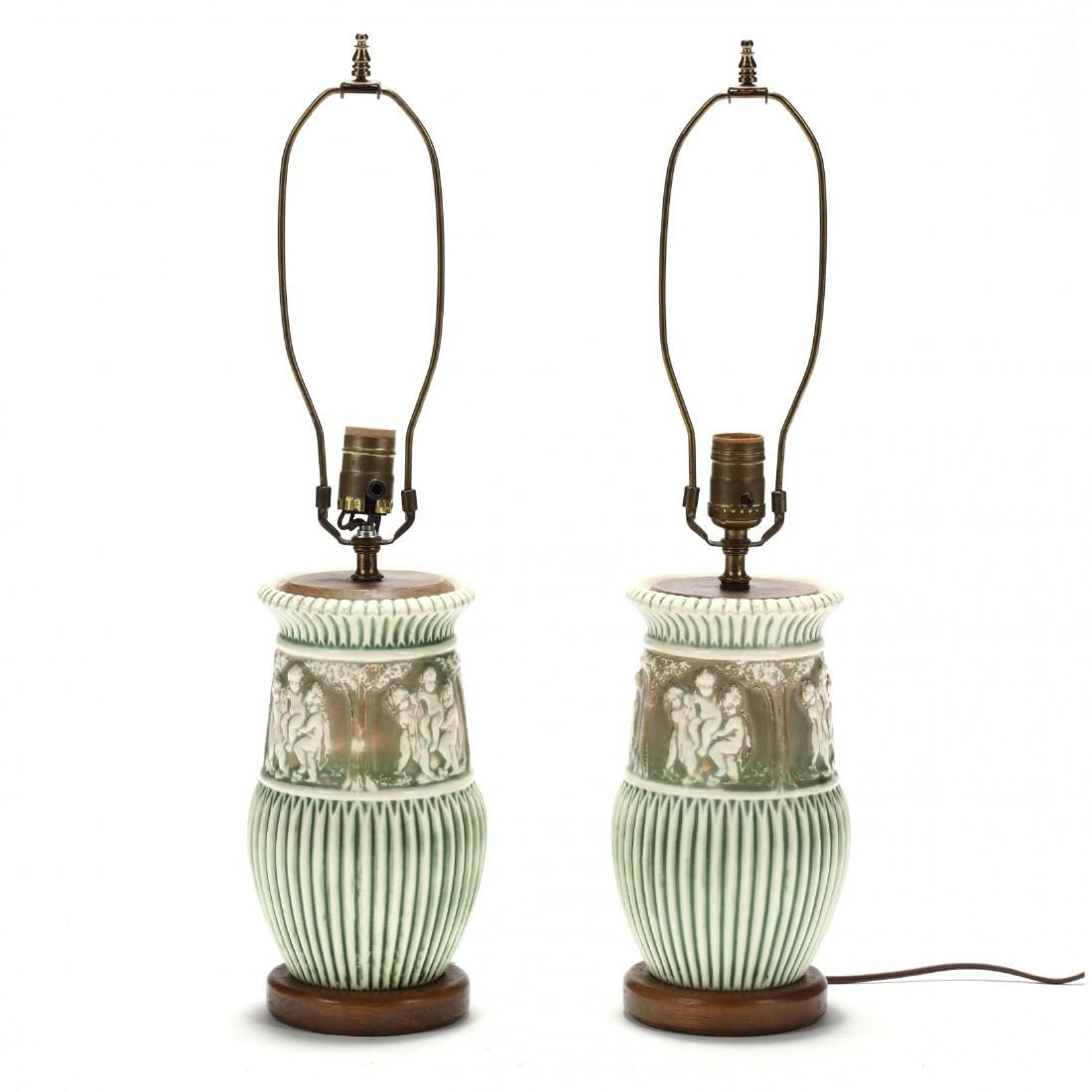 """Pair of Roseville """"Donatello"""" Pottery Table Lamps"""