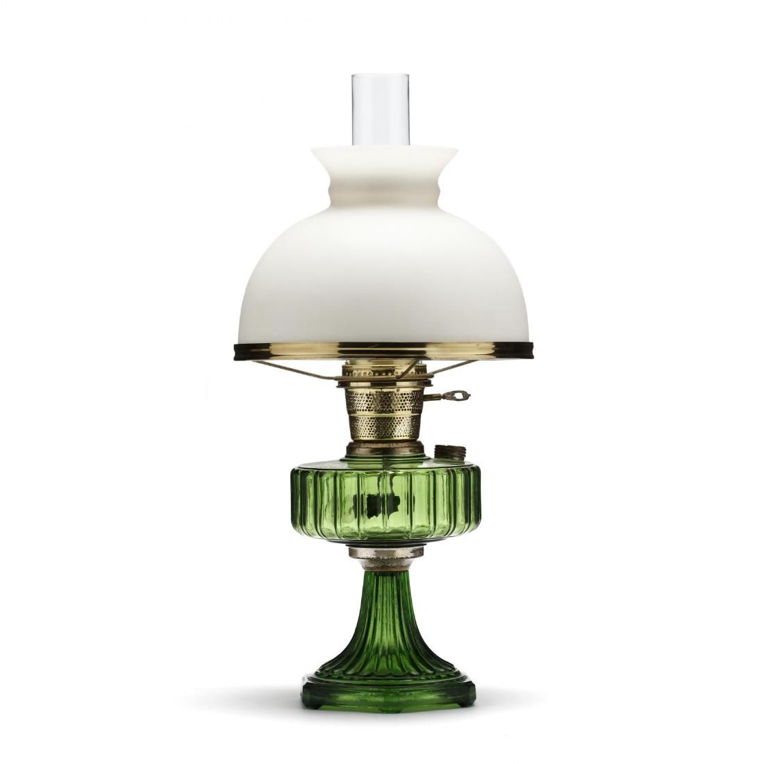 A Vintage Green Glass Oil Lamp