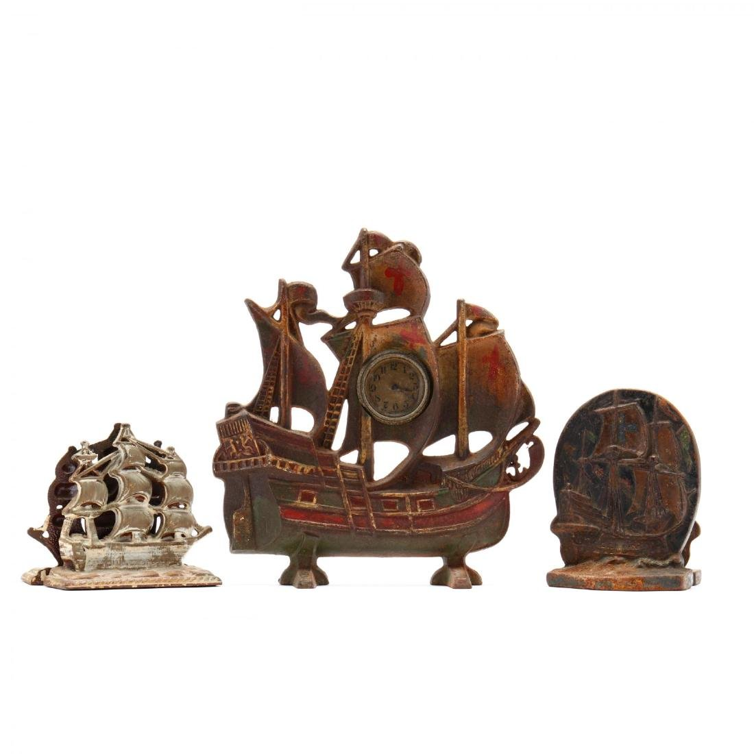 Vintage Clipper Ship Door Stop and Bookends
