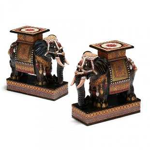 Pair Of Glazed Ceramic Elephant Garden Stools