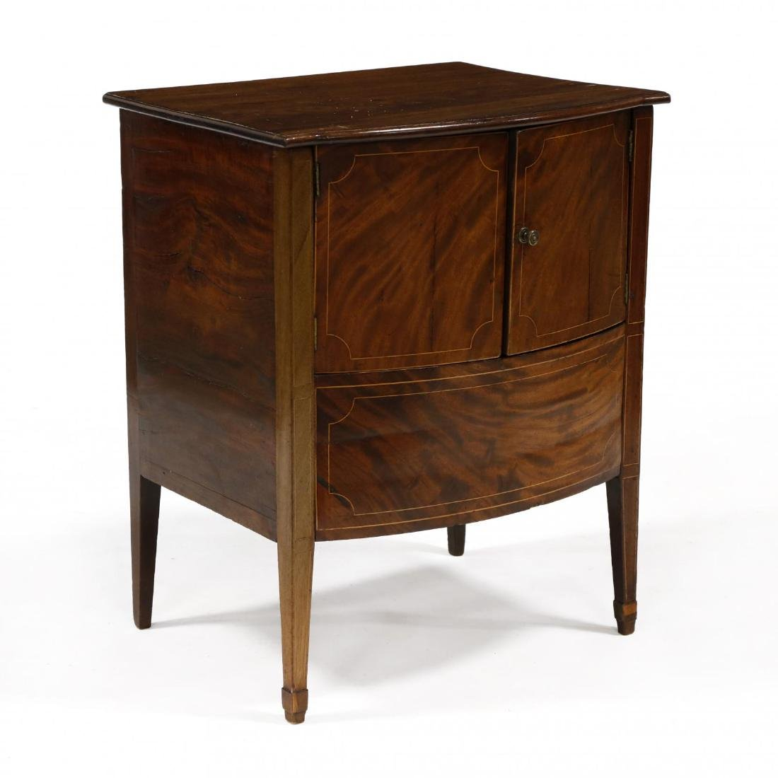 George III Inlaid Mahogany Bow Front Side Cabinet