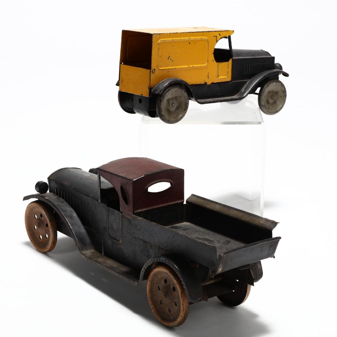 Two Antique Pressed Tin Toy Trucks - 2