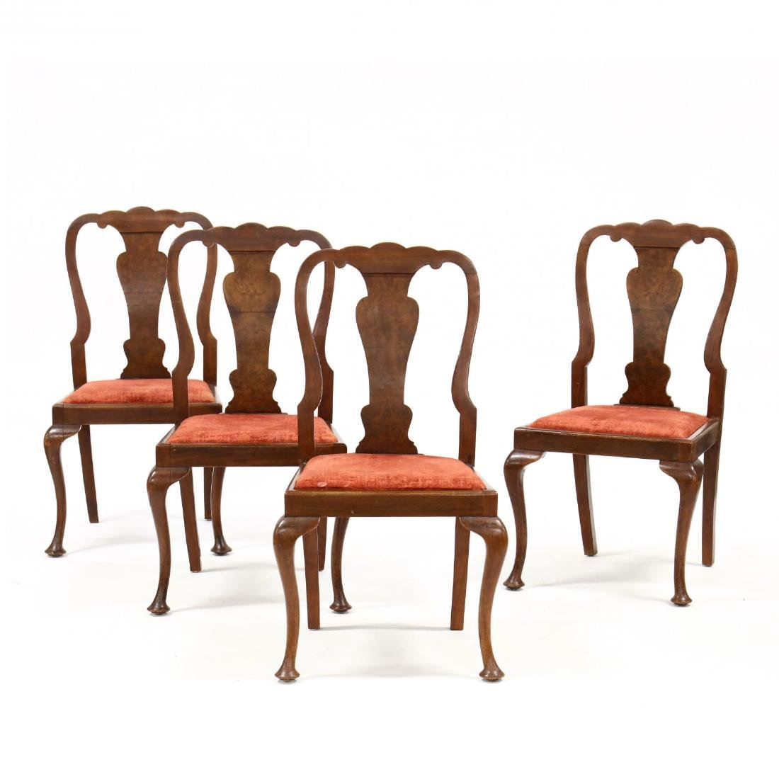 Set of Four Queen Anne Style Dining Chairs