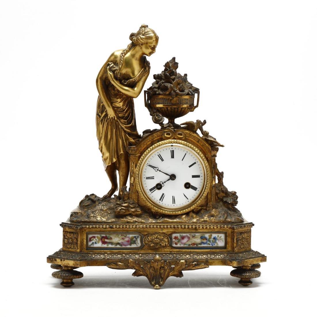 Antique French Gilt Bronze Figural Mantel Clock