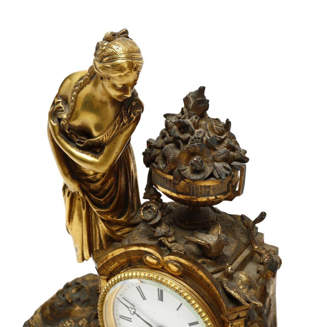 Antique French Gilt Bronze Figural Mantel Clock - 2