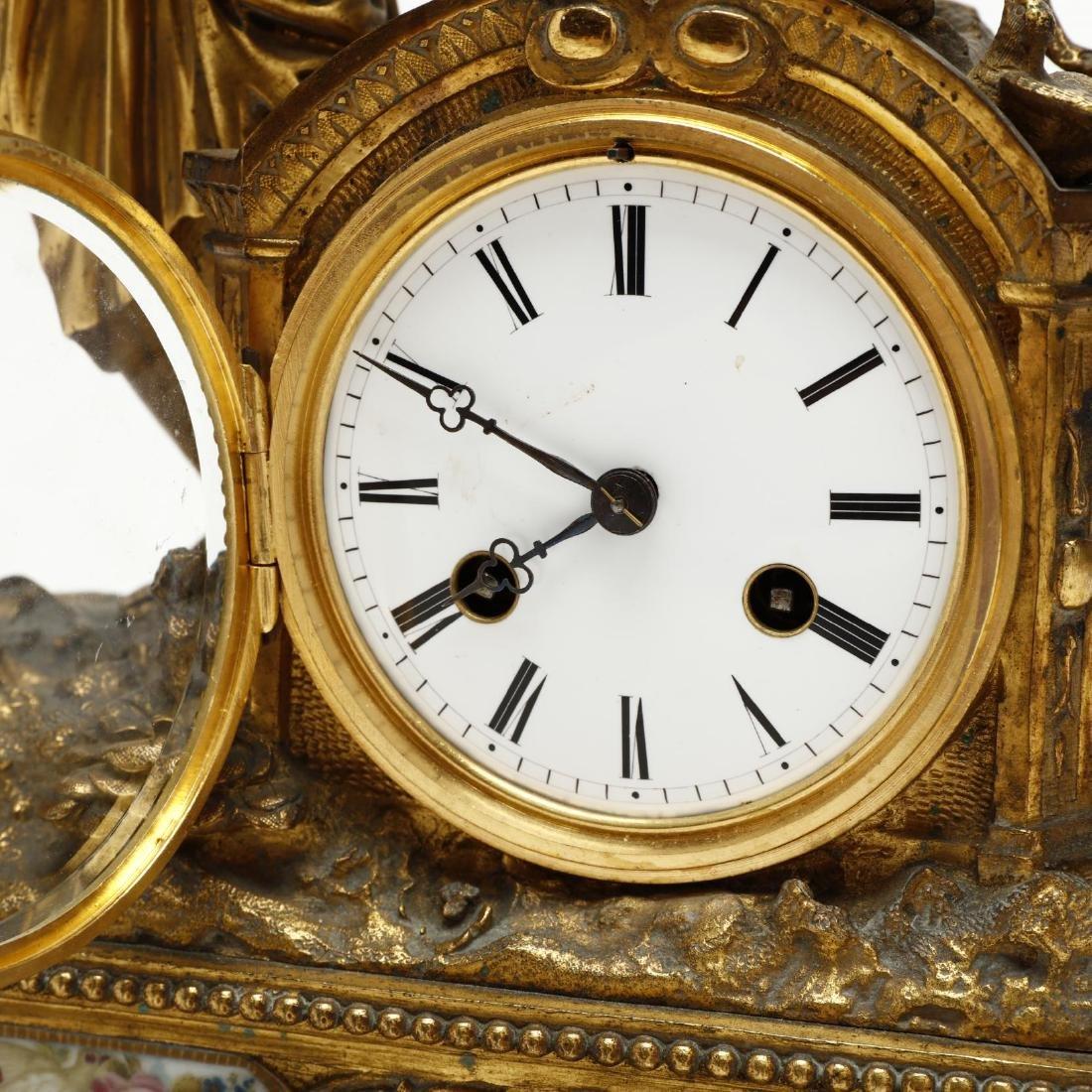 Antique French Gilt Bronze Figural Mantel Clock - 3