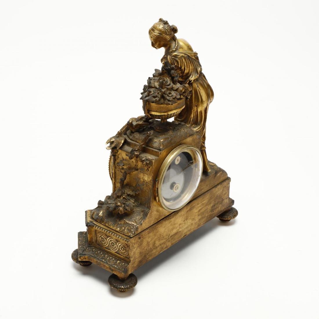 Antique French Gilt Bronze Figural Mantel Clock - 4