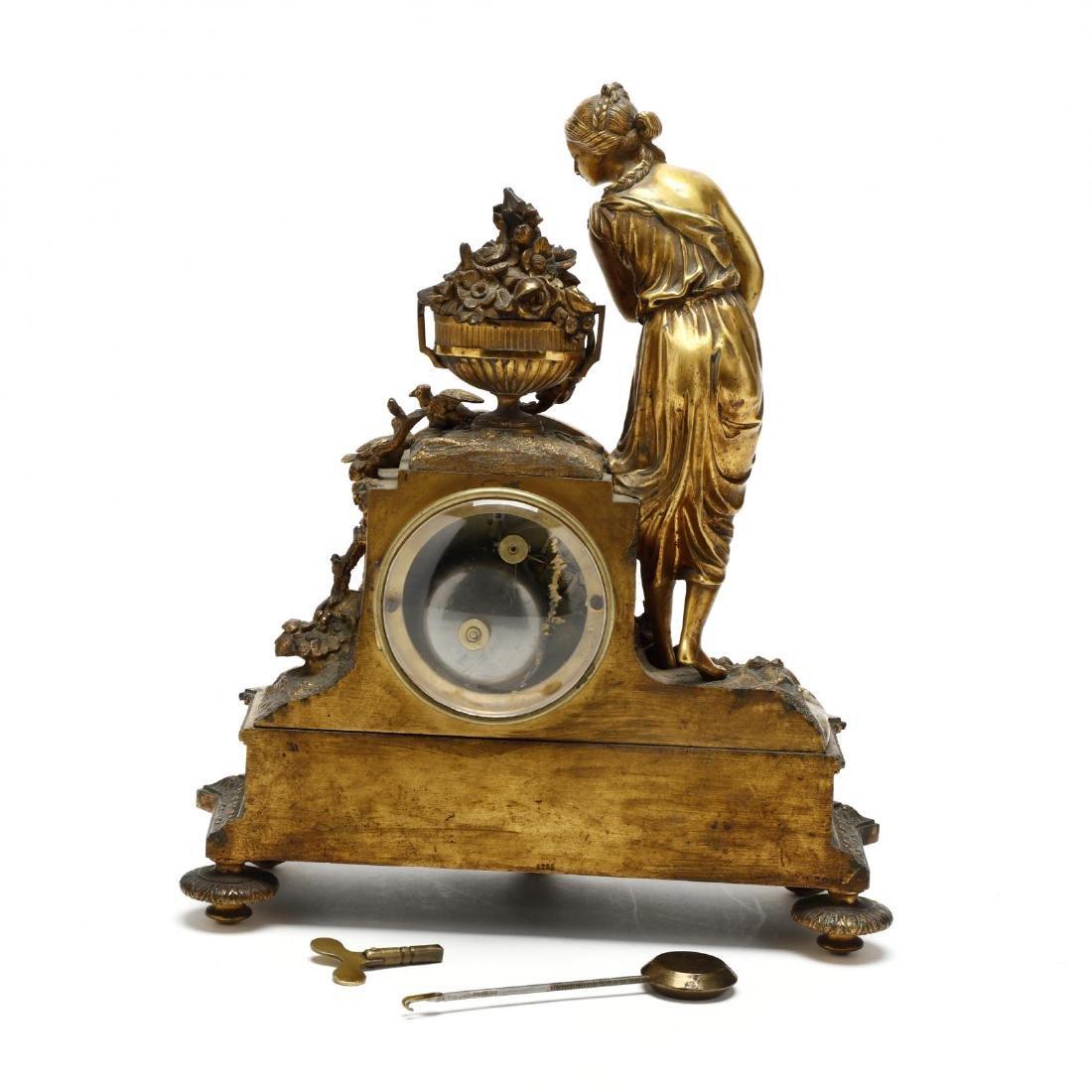 Antique French Gilt Bronze Figural Mantel Clock - 5