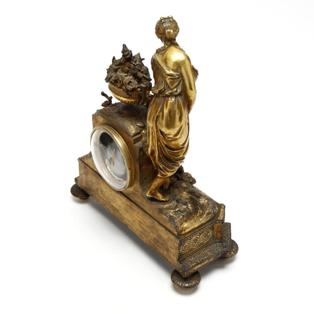 Antique French Gilt Bronze Figural Mantel Clock - 6