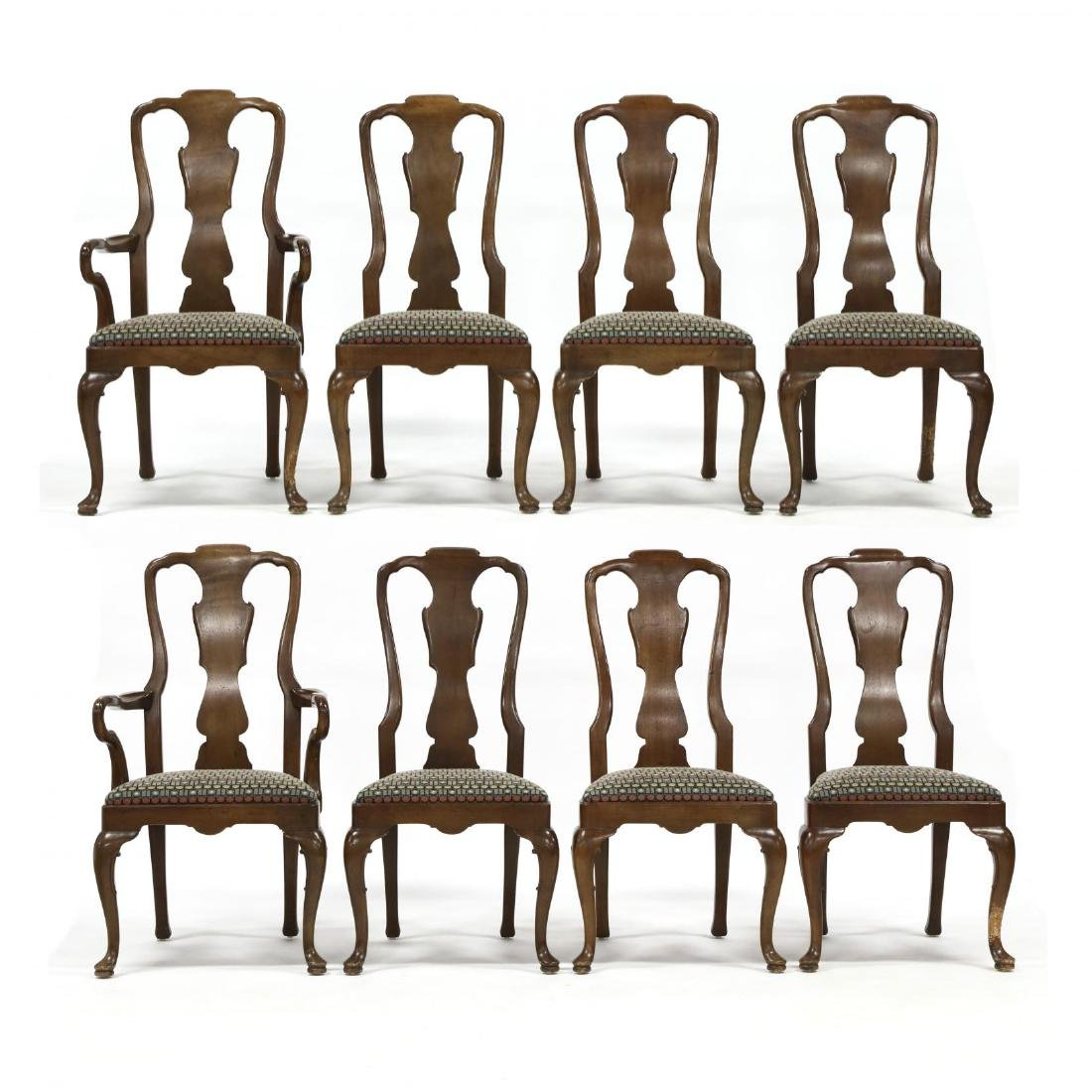 Henredon, Set of Eight Queen Anne Style Dining Chairs