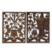 A Pair of Vintage Bronze Beer Advertising Panels