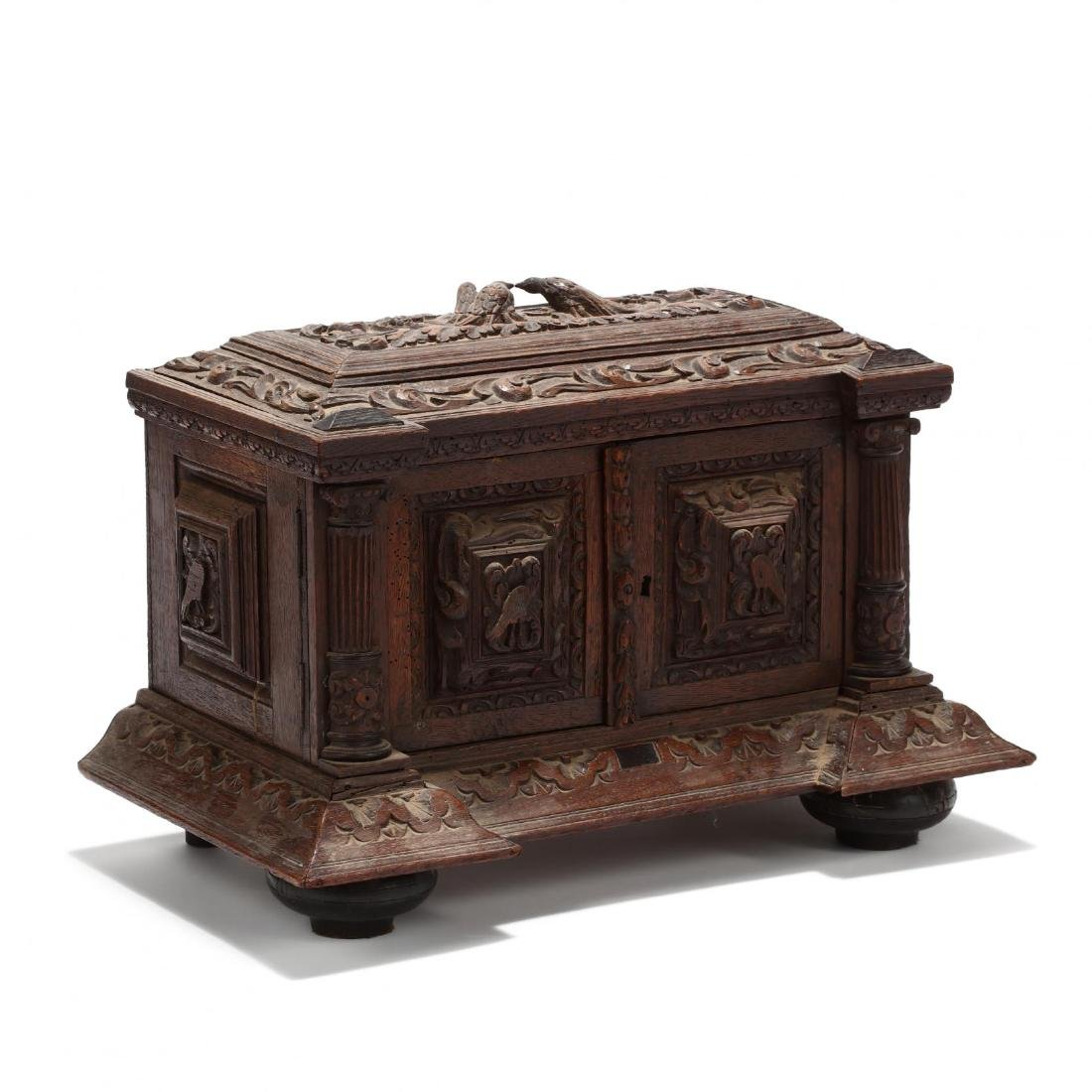 Antique Jacobean Style Carved Oak Table Top Cabinet