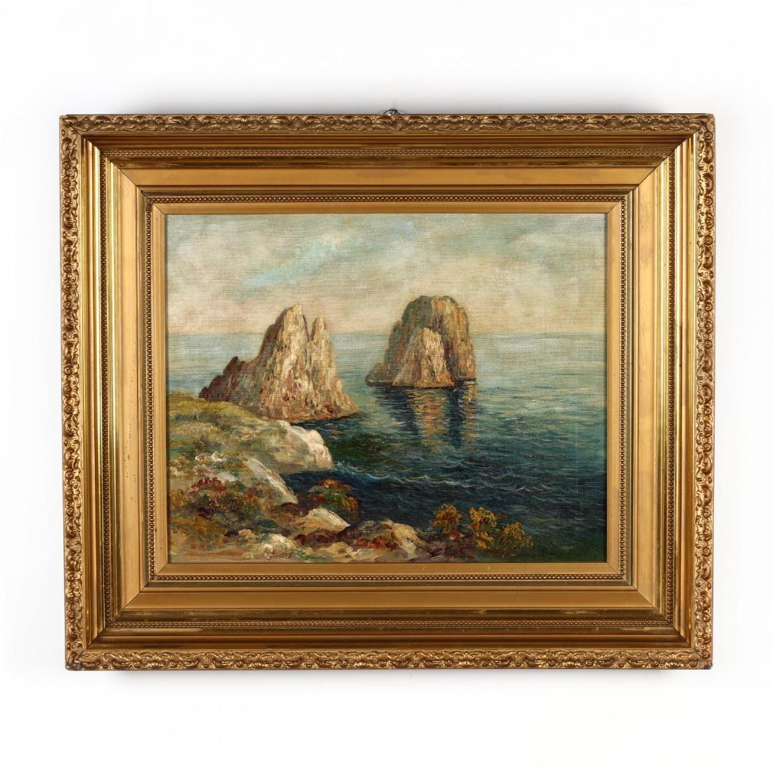 A Vintage Painting of a Mediterranean Coastline