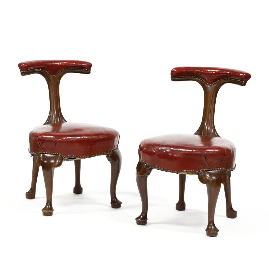 W. & J. Sloane, Pair of Queen Anne Style Leather