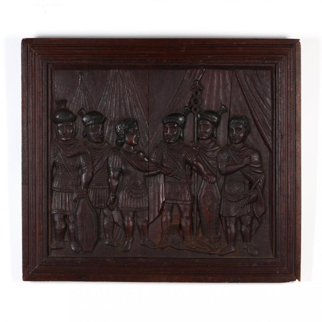 Antique Continental Carved Oak Panel