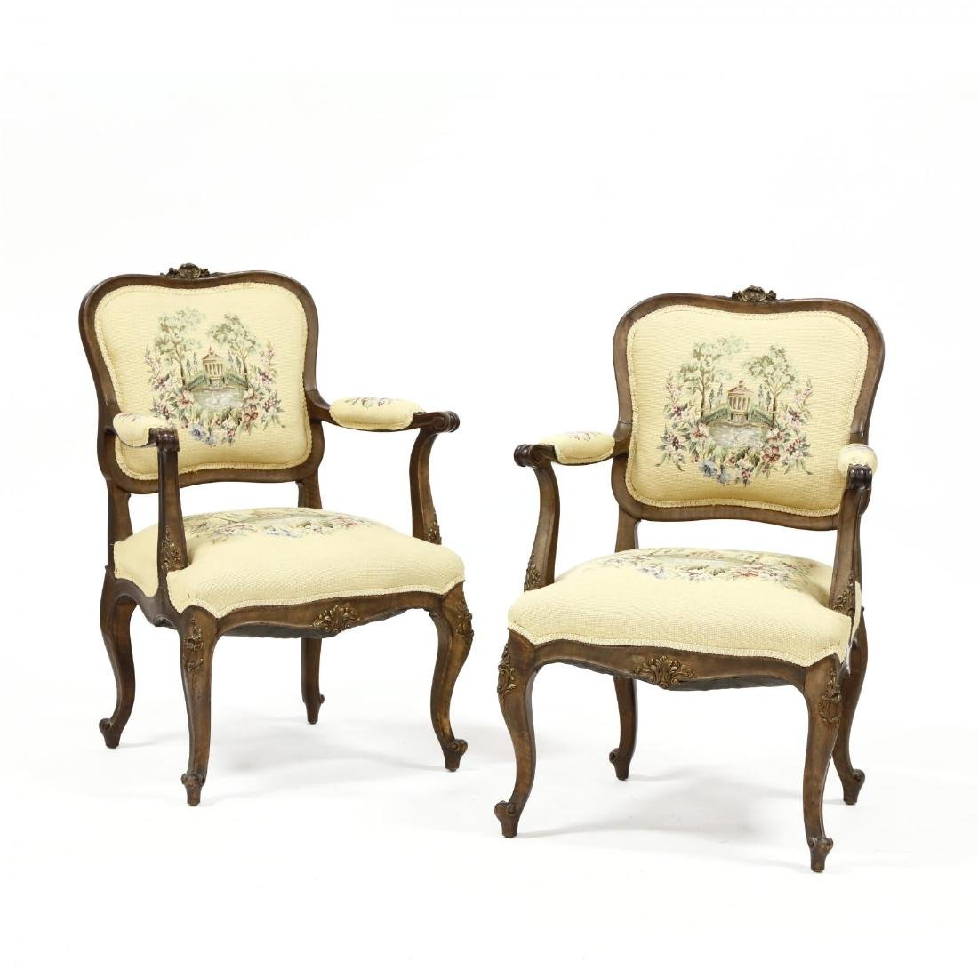 Pair of Louis XV Style Needlepoint Fauteuils