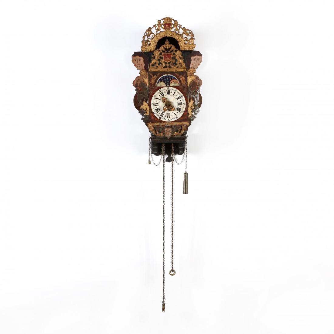 "Vintage Dutch ""Stoelklok"" Painted Wall Clock"