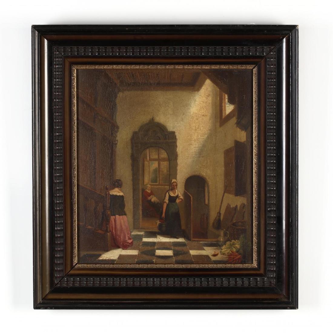 An Antique Dutch Interior Genre Painting